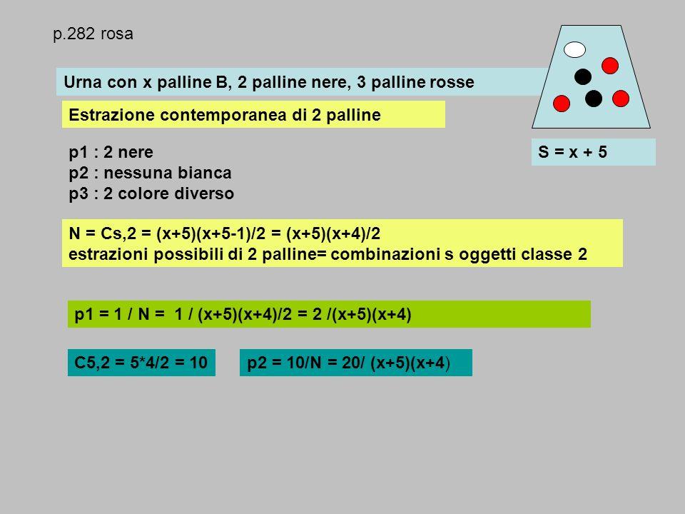 p.282 rosa Urna con x palline B, 2 palline nere, 3 palline rosse. Estrazione contemporanea di 2 palline.