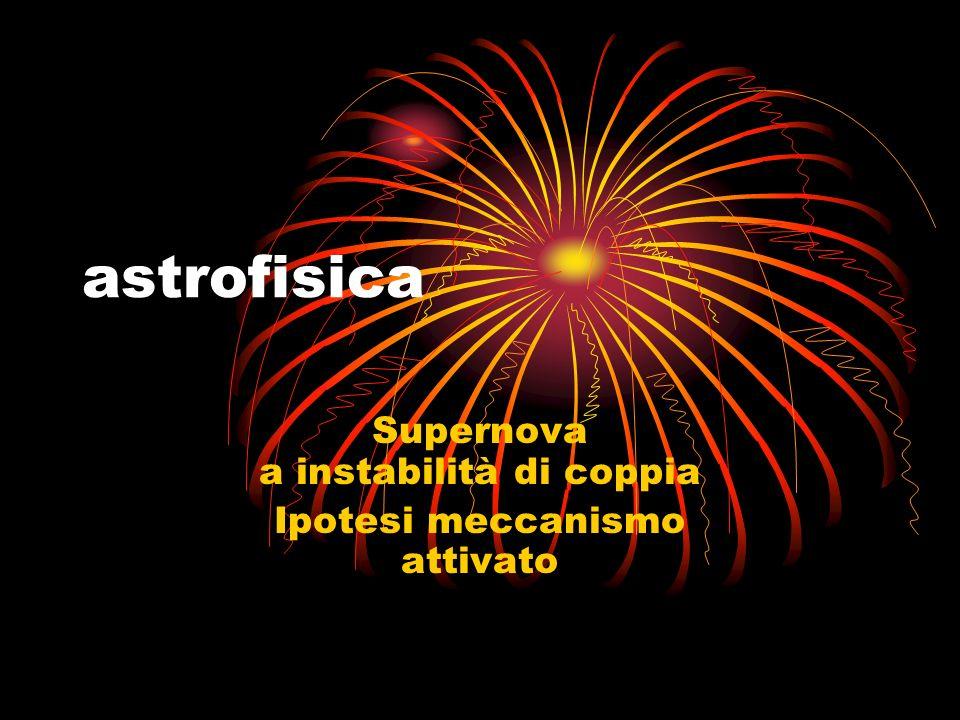 Supernova a instabilità di coppia Ipotesi meccanismo attivato