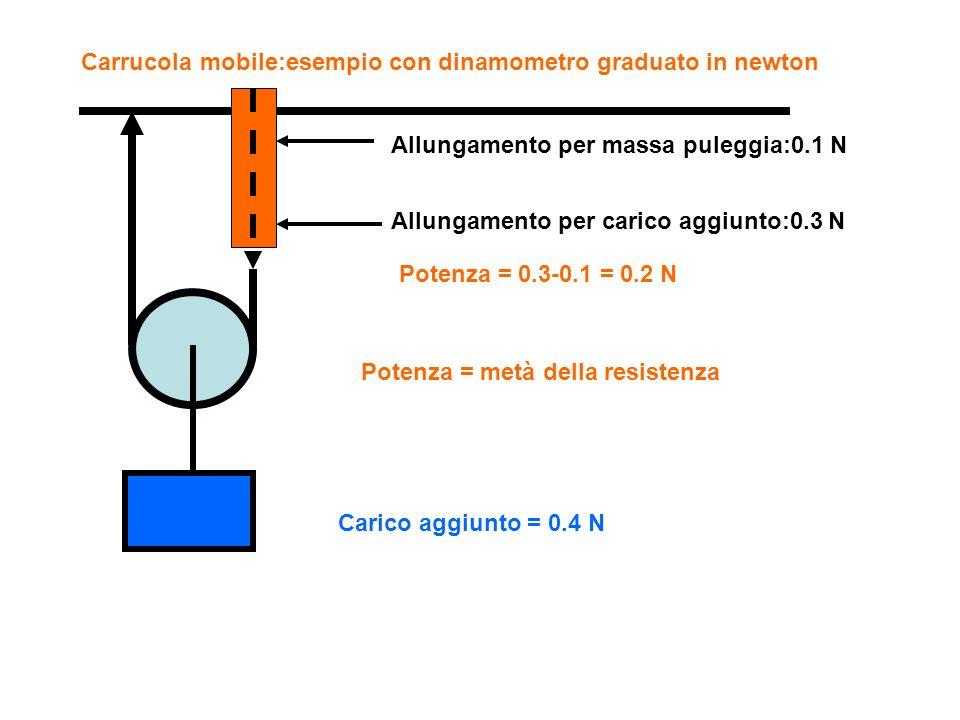 Carrucola mobile:esempio con dinamometro graduato in newton