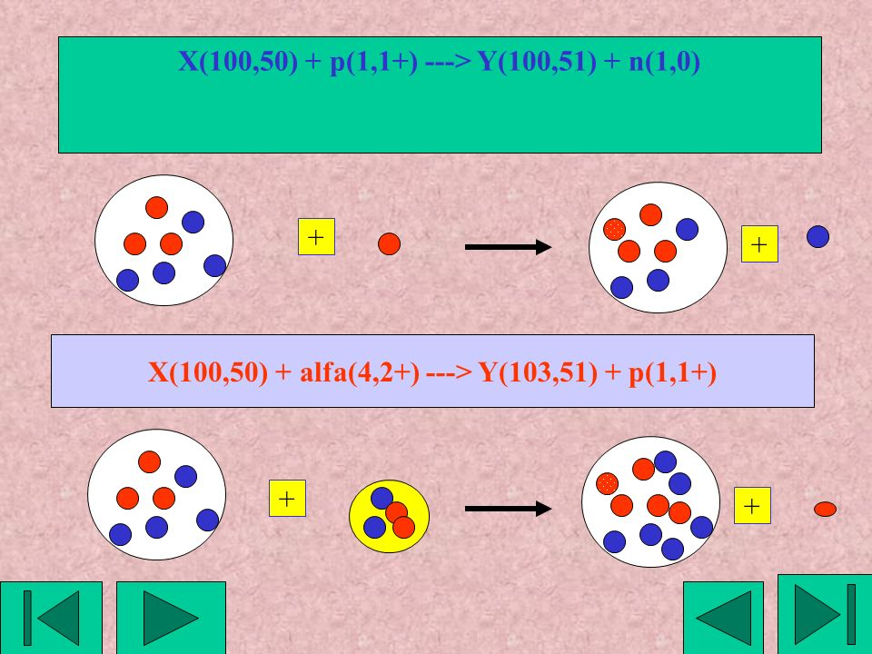 X(100,50) + p(1,1+) ---> Y(100,51) + n(1,0)