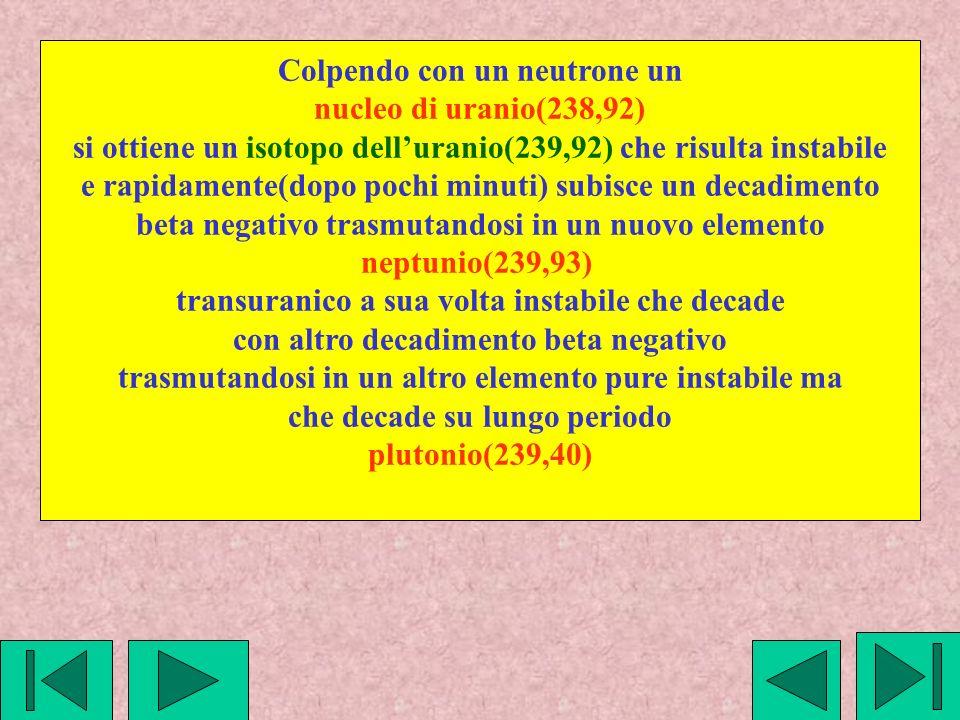 Colpendo con un neutrone un nucleo di uranio(238,92)