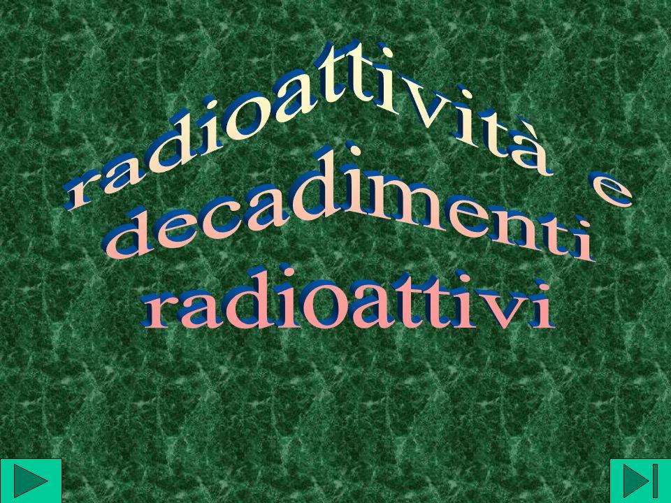 radioattività e decadimenti radioattivi