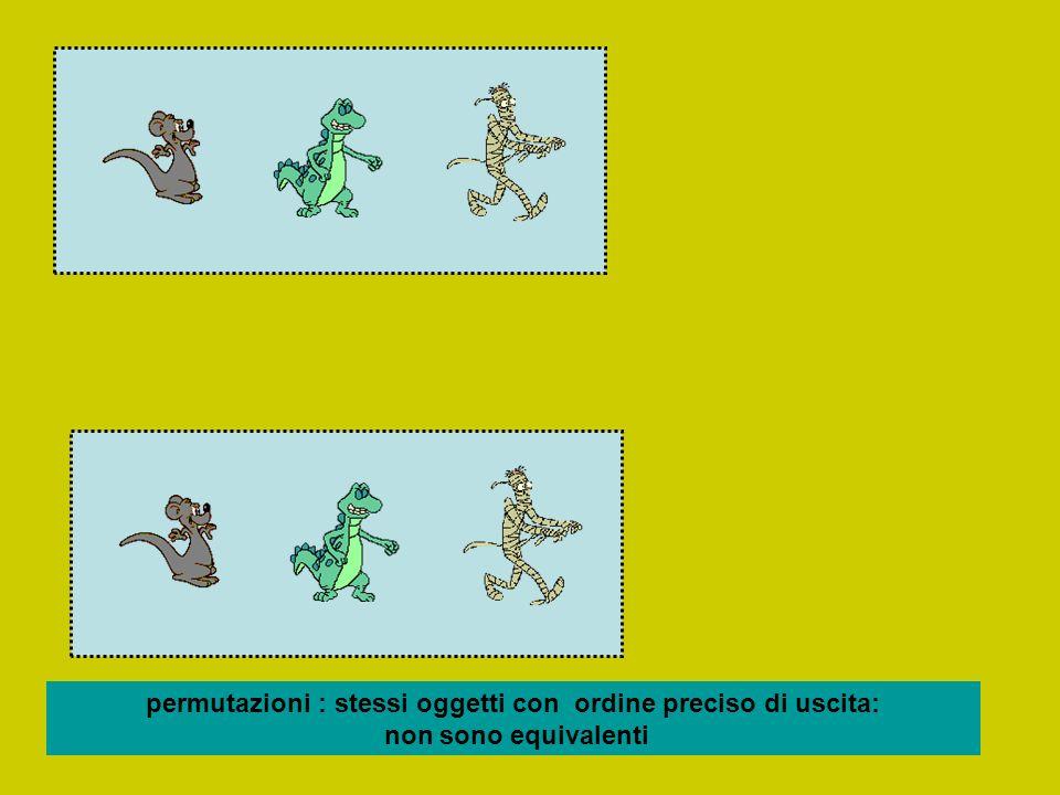 permutazioni : stessi oggetti con ordine preciso di uscita: non sono equivalenti
