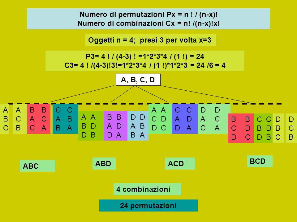 Numero di permutazioni Px = n. / (n-x). Numero di combinazioni Cx = n