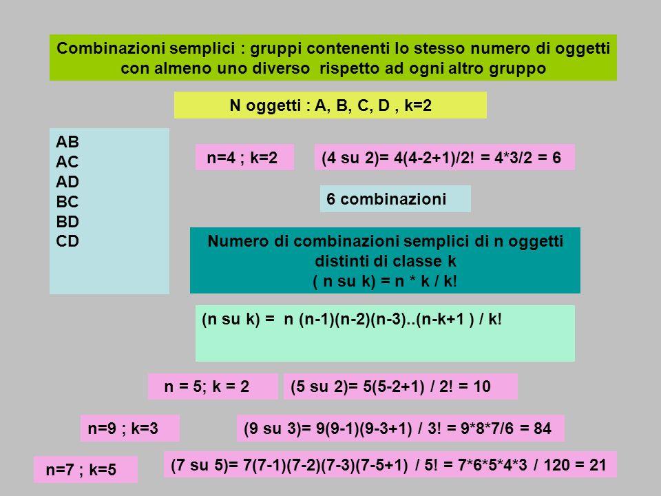 Combinazioni semplici : gruppi contenenti lo stesso numero di oggetti con almeno uno diverso rispetto ad ogni altro gruppo