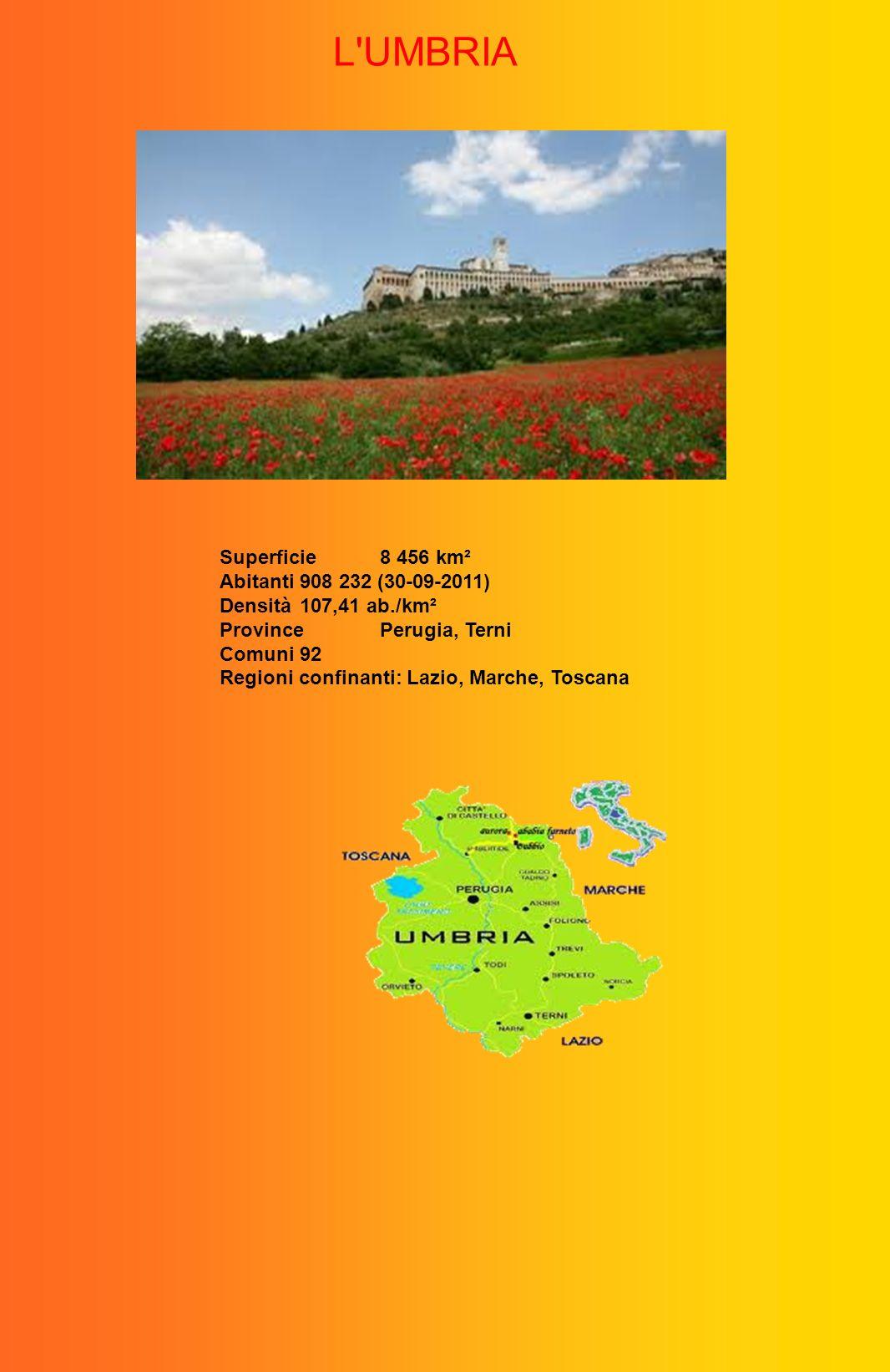 L UMBRIA Superficie 8 456 km² Abitanti 908 232 (30-09-2011)