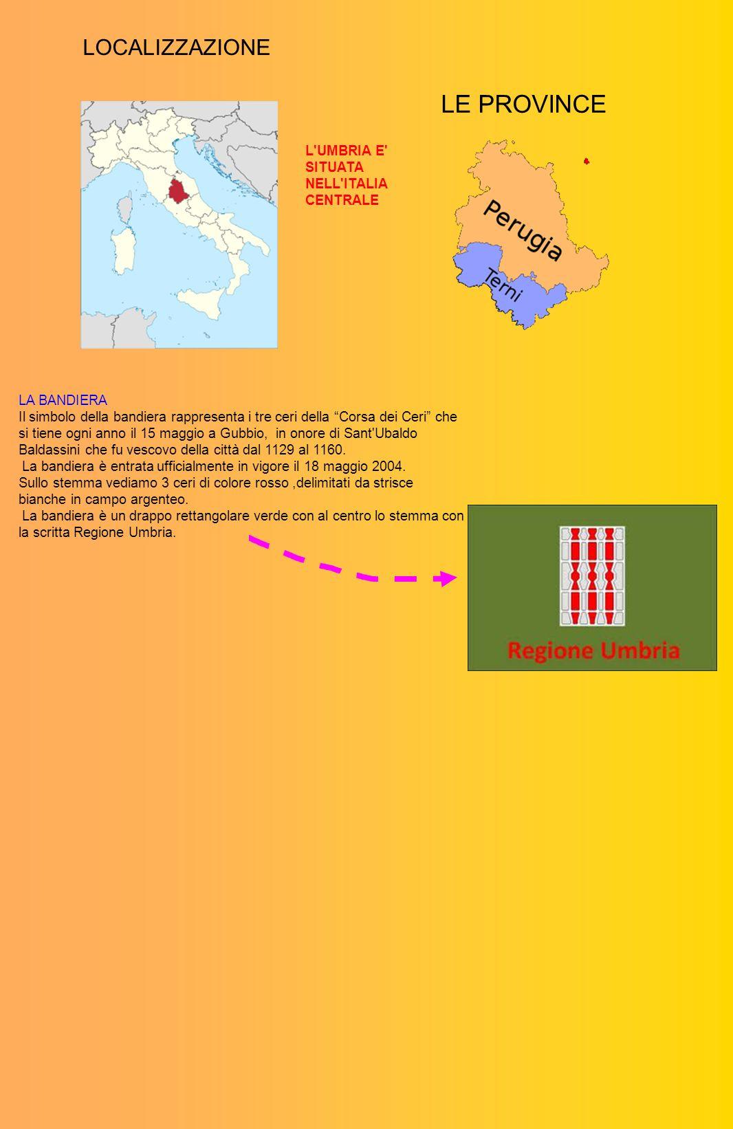 LE PROVINCE LOCALIZZAZIONE L UMBRIA E SITUATA NELL ITALIA CENTRALE