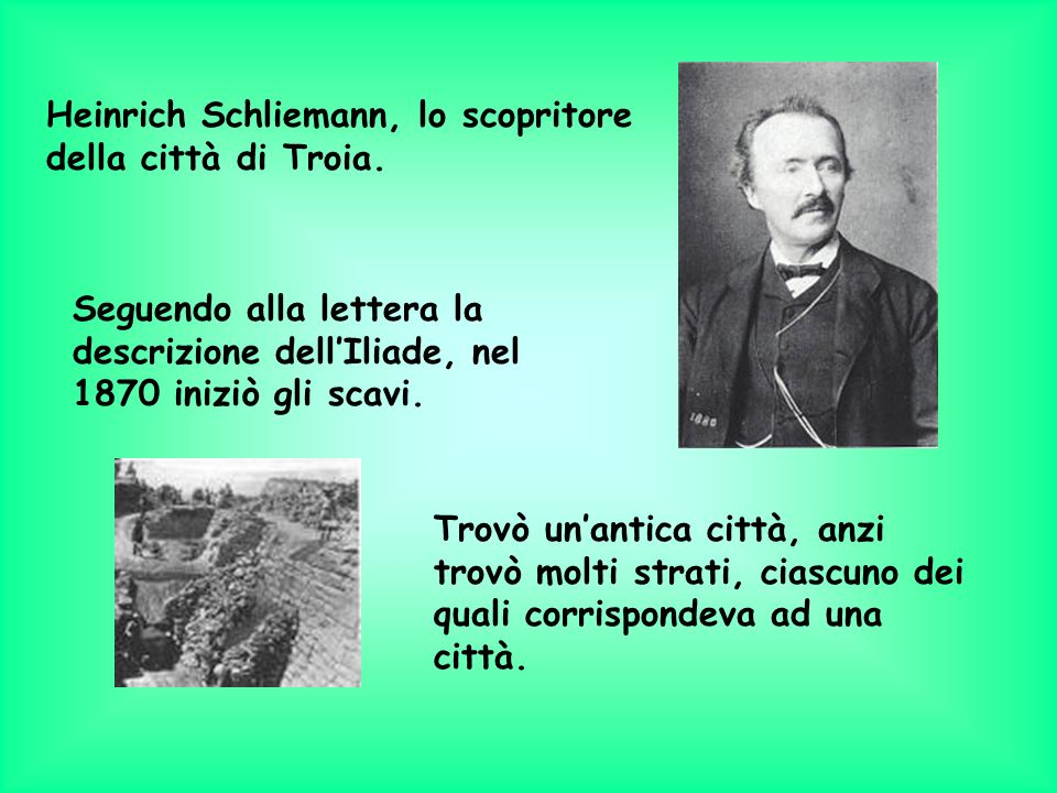 Heinrich Schliemann, lo scopritore della città di Troia.