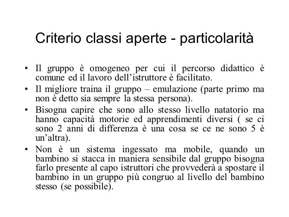 Criterio classi aperte - particolarità
