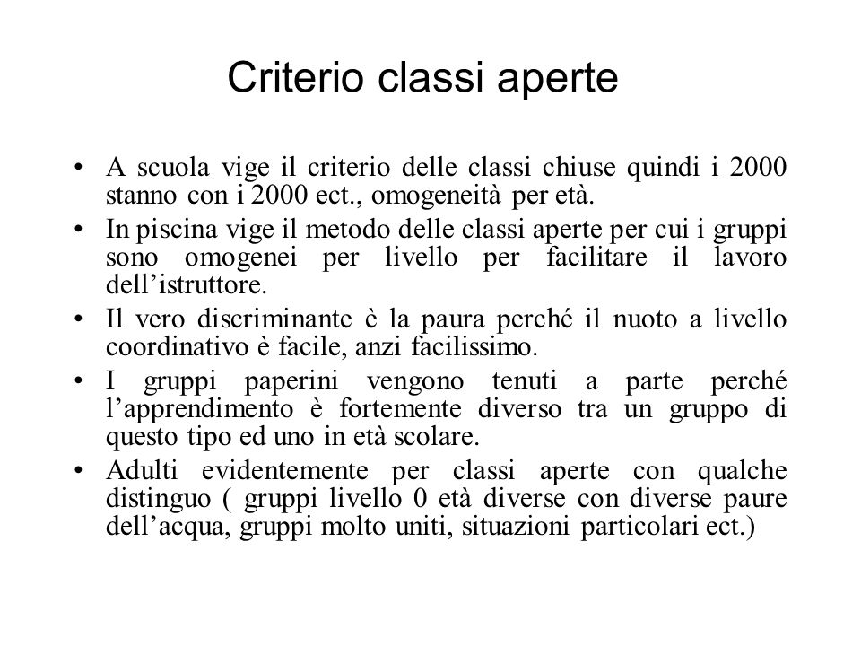 Criterio classi aperte