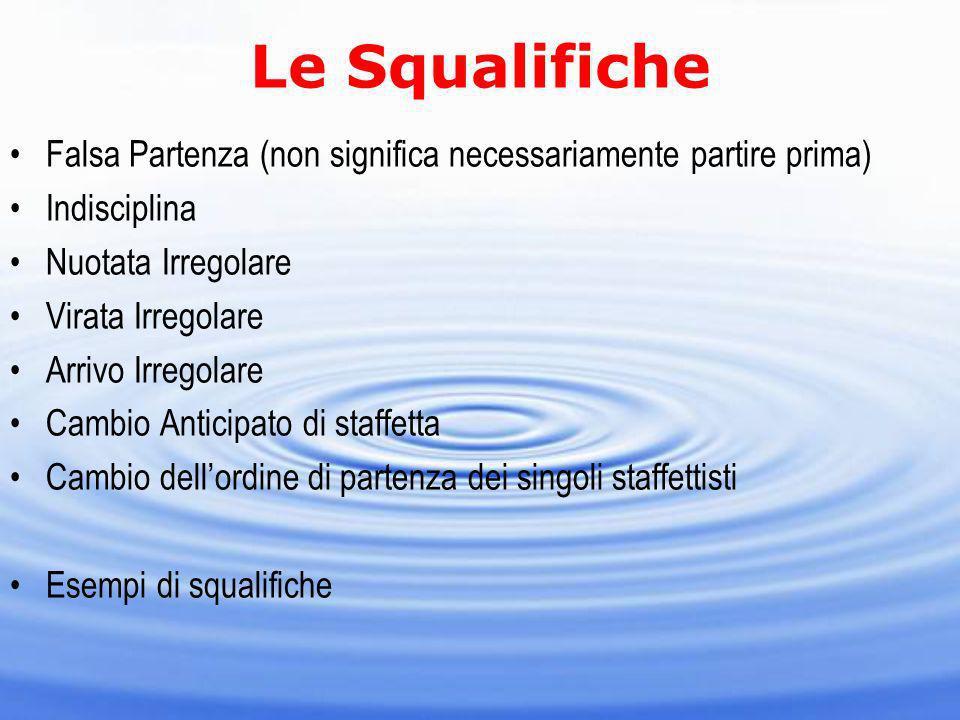 Le Squalifiche Falsa Partenza (non significa necessariamente partire prima) Indisciplina. Nuotata Irregolare.