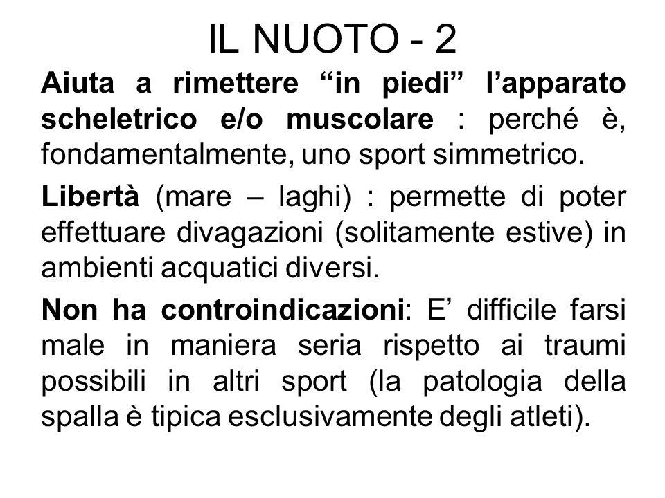 IL NUOTO - 2 Aiuta a rimettere in piedi l'apparato scheletrico e/o muscolare : perché è, fondamentalmente, uno sport simmetrico.