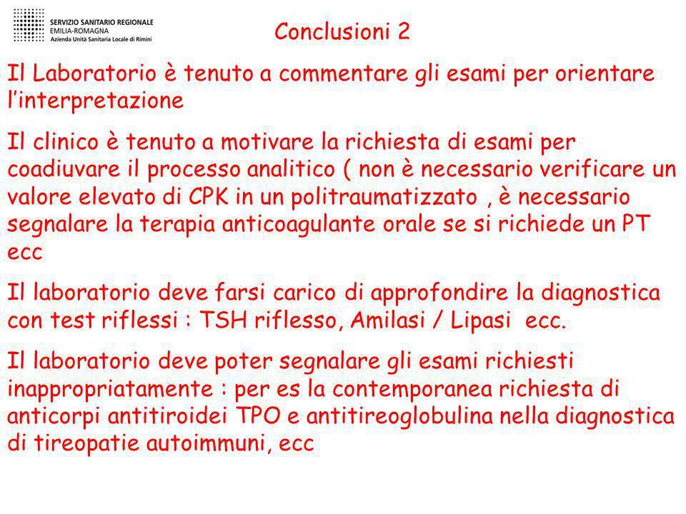Conclusioni 2 Il Laboratorio è tenuto a commentare gli esami per orientare l'interpretazione.