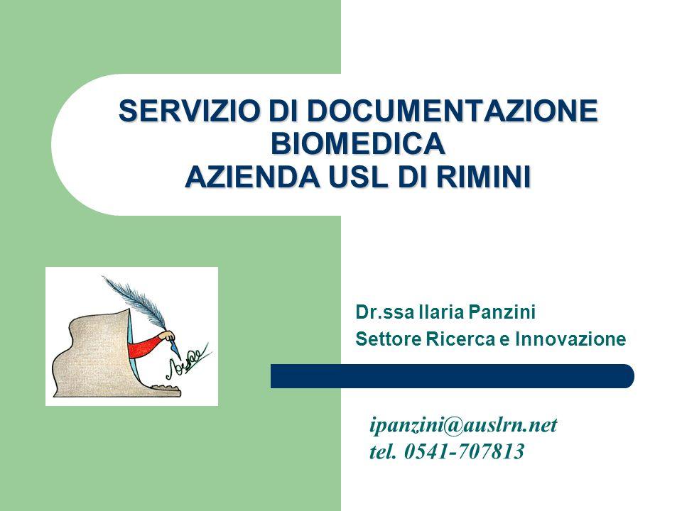 SERVIZIO DI DOCUMENTAZIONE BIOMEDICA AZIENDA USL DI RIMINI