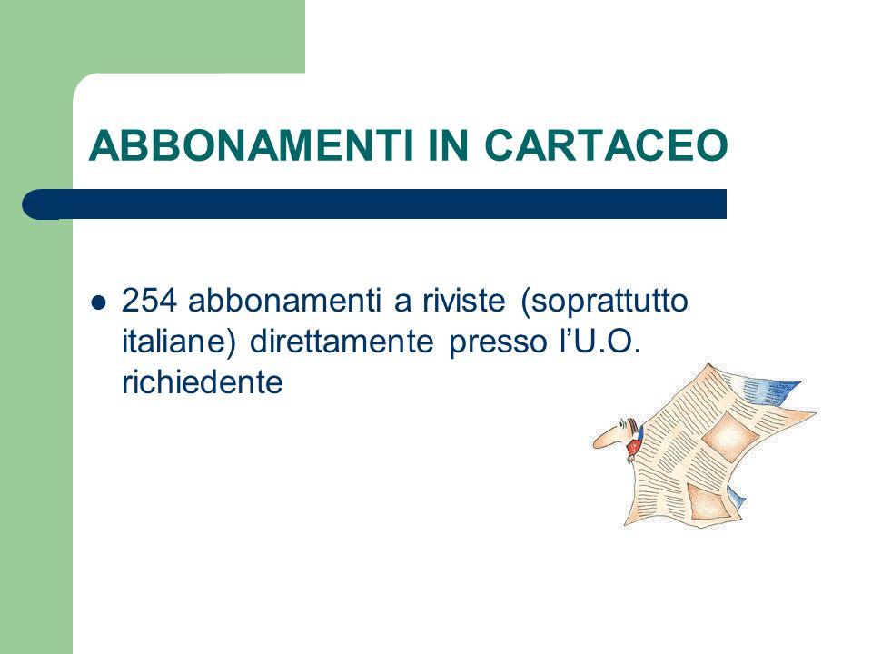 ABBONAMENTI IN CARTACEO