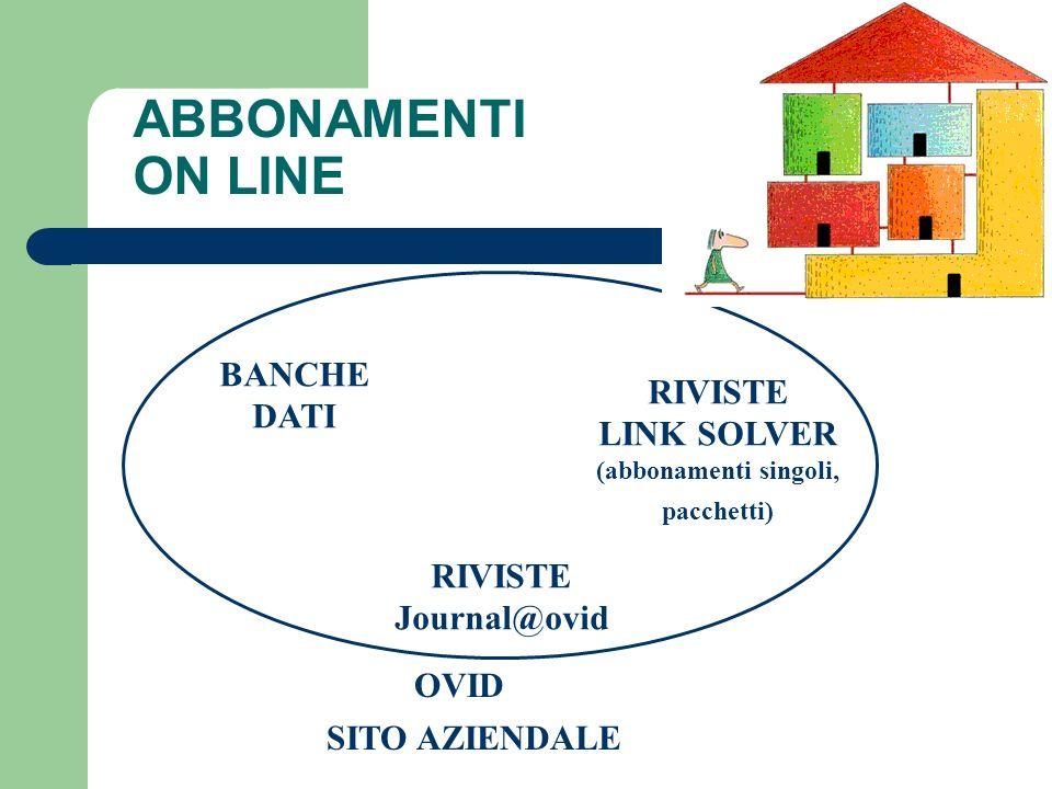 ABBONAMENTI ON LINE BANCHE RIVISTE DATI LINK SOLVER RIVISTE