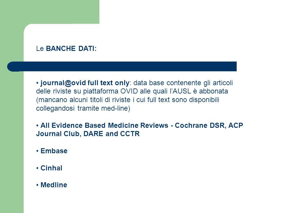 Le BANCHE DATI: journal@ovid full text only: data base contenente gli articoli. delle riviste su piattaforma OVID alle quali l'AUSL è abbonata.