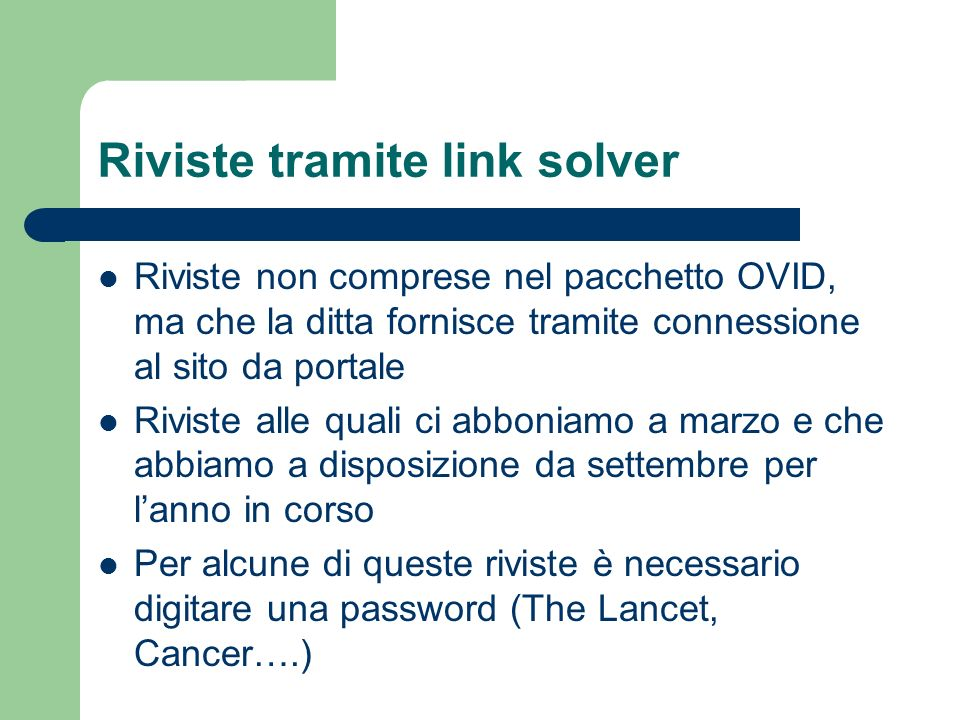 Riviste tramite link solver