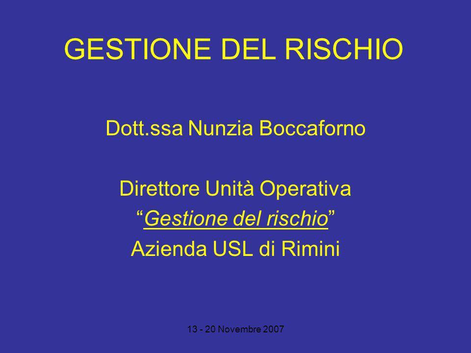 GESTIONE DEL RISCHIO Dott.ssa Nunzia Boccaforno