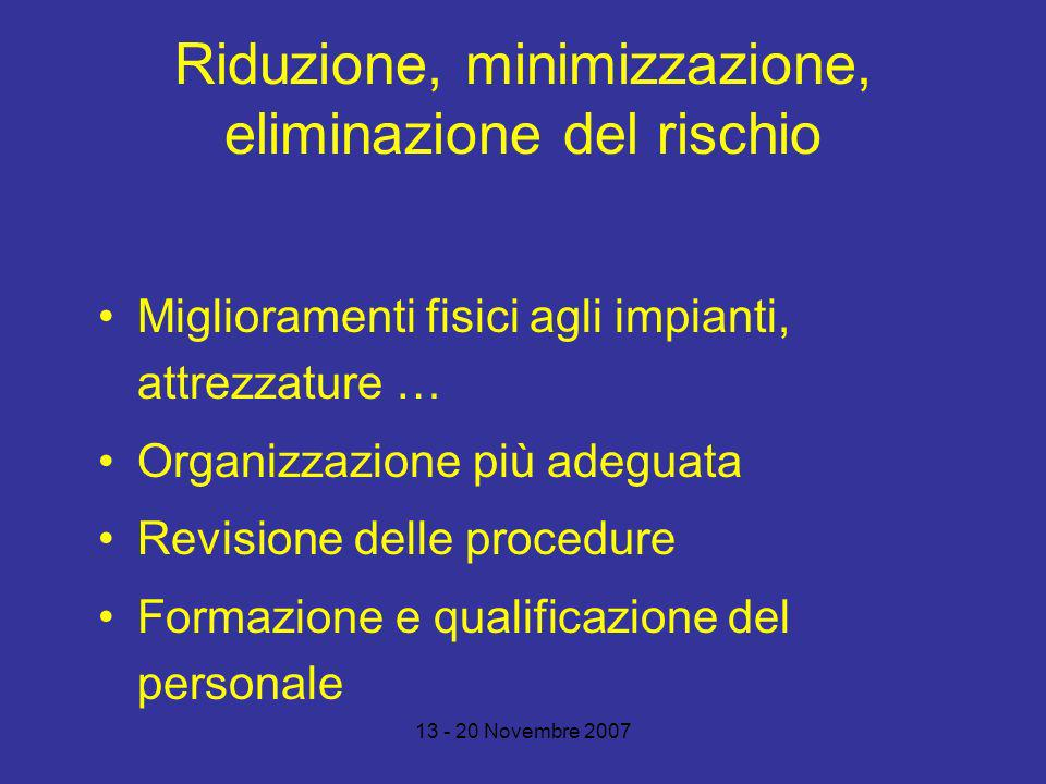 Riduzione, minimizzazione, eliminazione del rischio