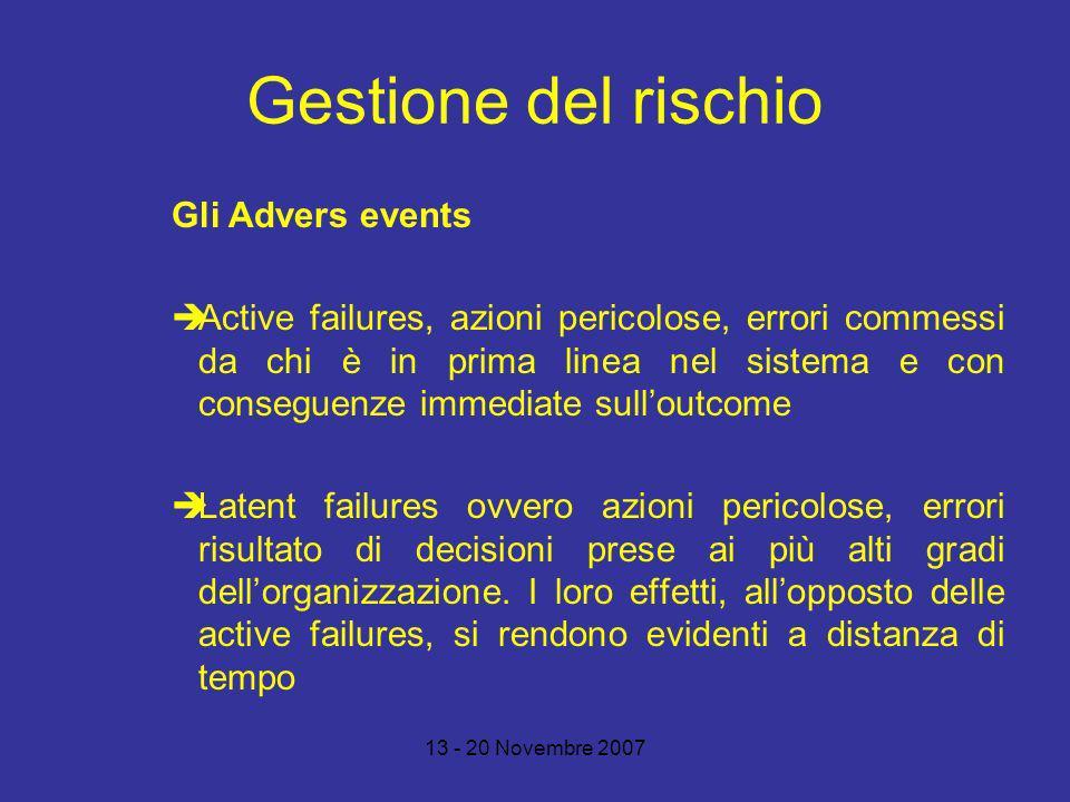 Gestione del rischio Gli Advers events