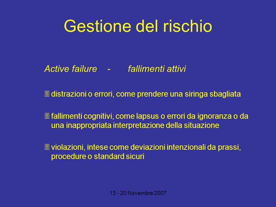 Gestione del rischio Active failure - fallimenti attivi