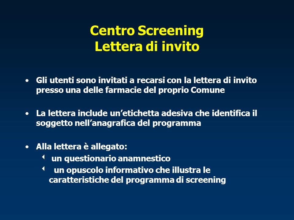 Centro Screening Lettera di invito