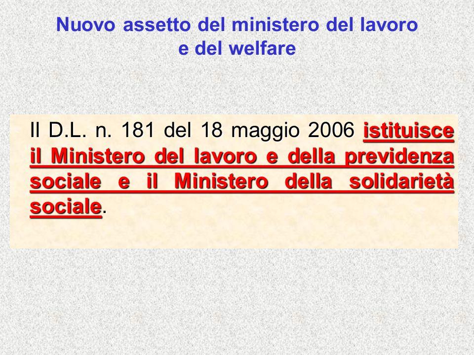Nuovo assetto del ministero del lavoro e del welfare