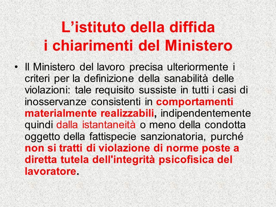 L'istituto della diffida i chiarimenti del Ministero