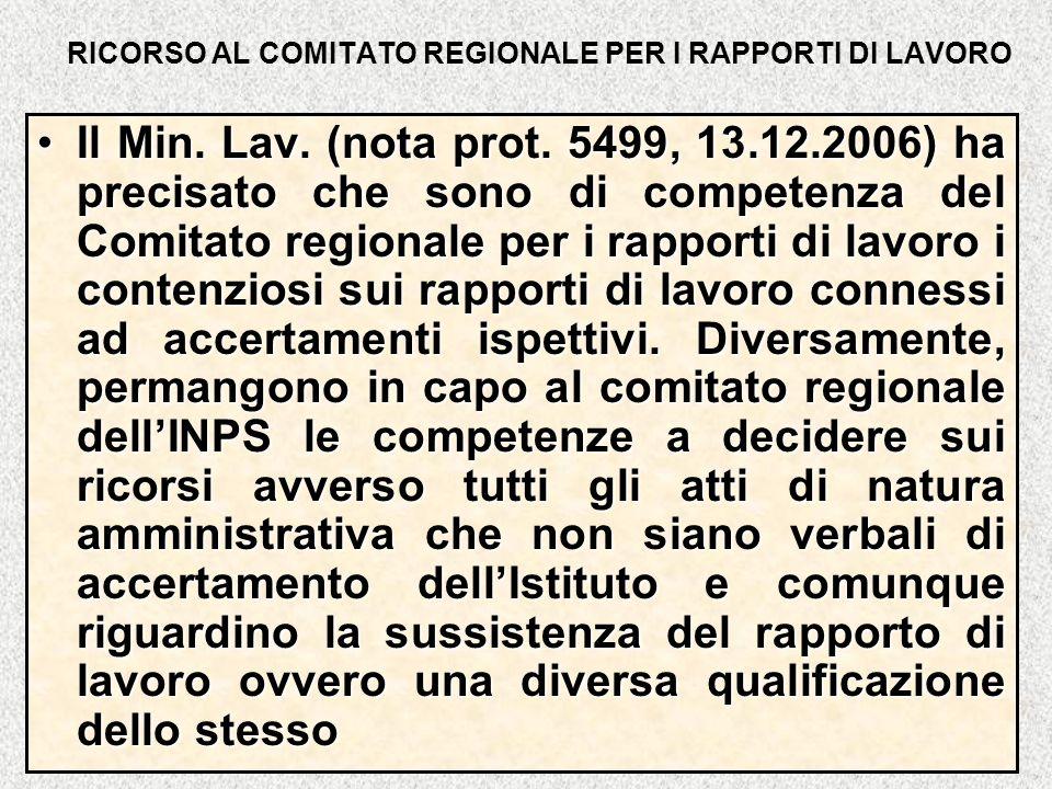 RICORSO AL COMITATO REGIONALE PER I RAPPORTI DI LAVORO