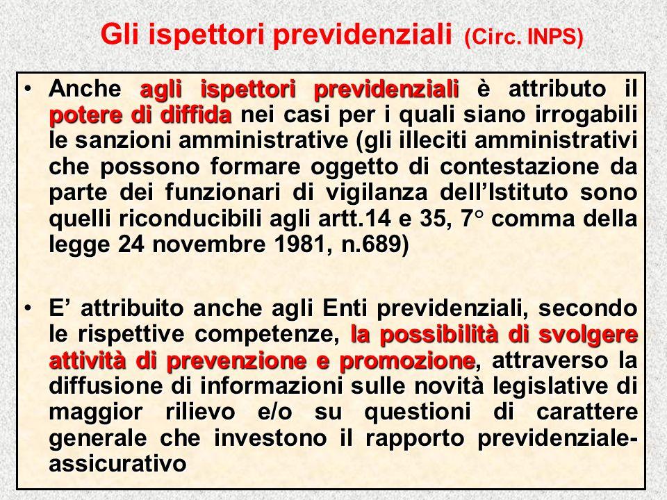 Gli ispettori previdenziali (Circ. INPS)