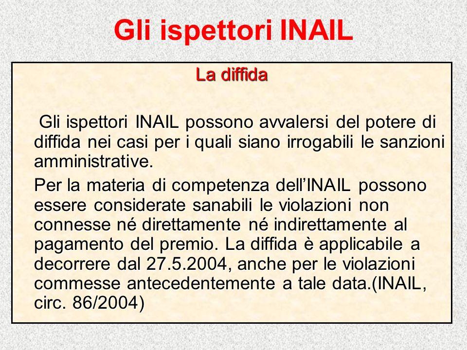 Gli ispettori INAIL La diffida
