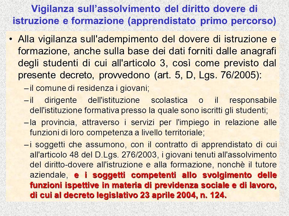 Vigilanza sull'assolvimento del diritto dovere di istruzione e formazione (apprendistato primo percorso)