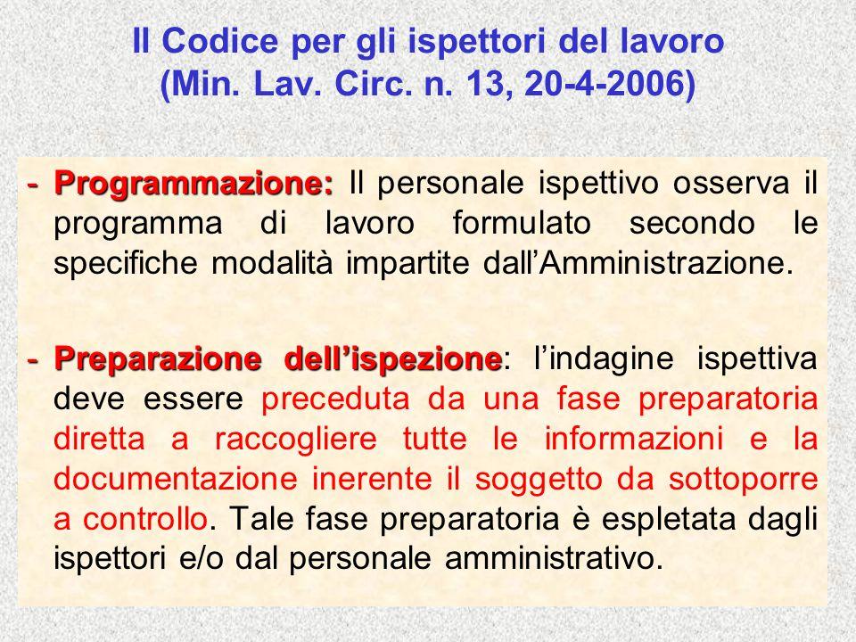Il Codice per gli ispettori del lavoro (Min. Lav. Circ. n