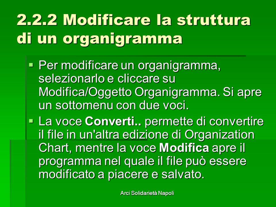 2.2.2 Modificare la struttura di un organigramma