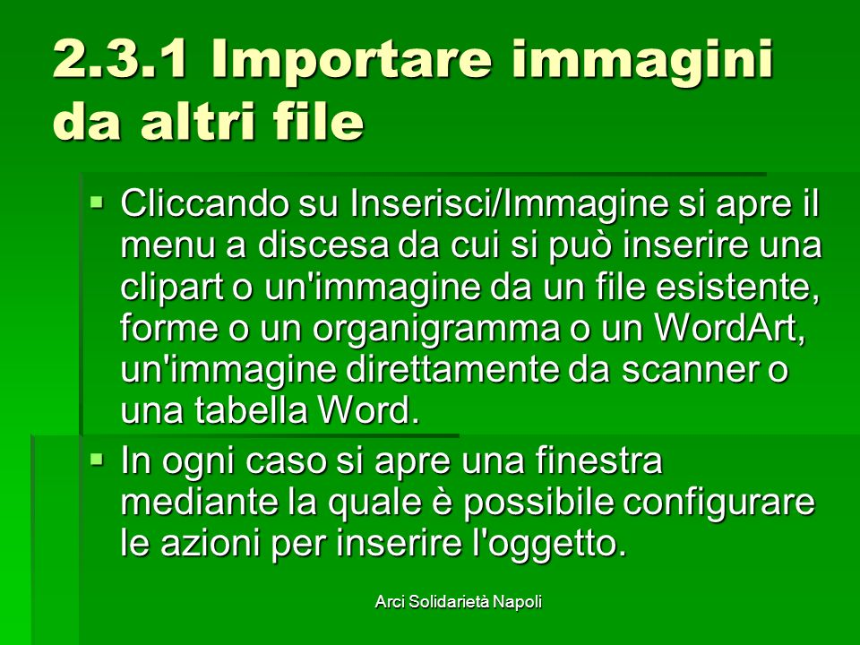 2.3.1 Importare immagini da altri file