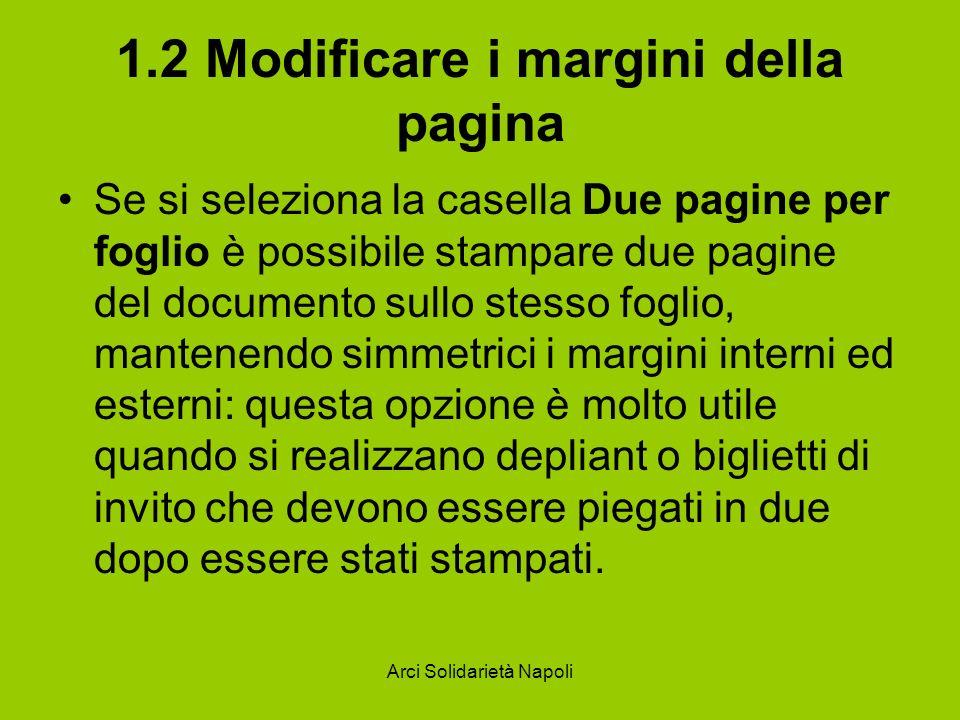 1.2 Modificare i margini della pagina