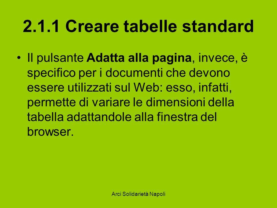 2.1.1 Creare tabelle standard