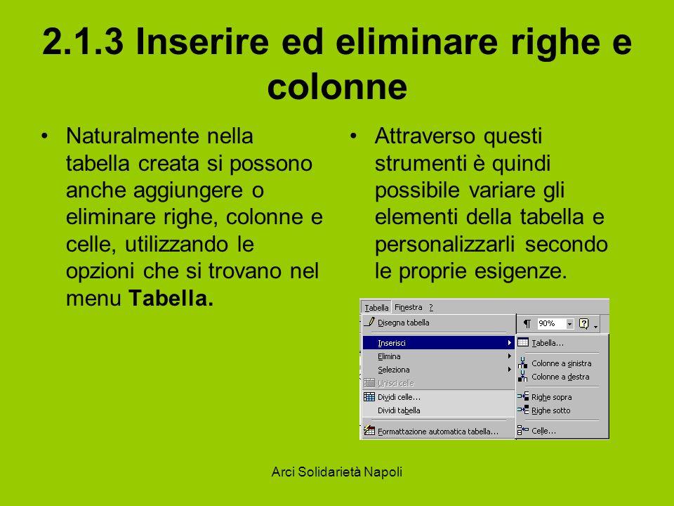 2.1.3 Inserire ed eliminare righe e colonne