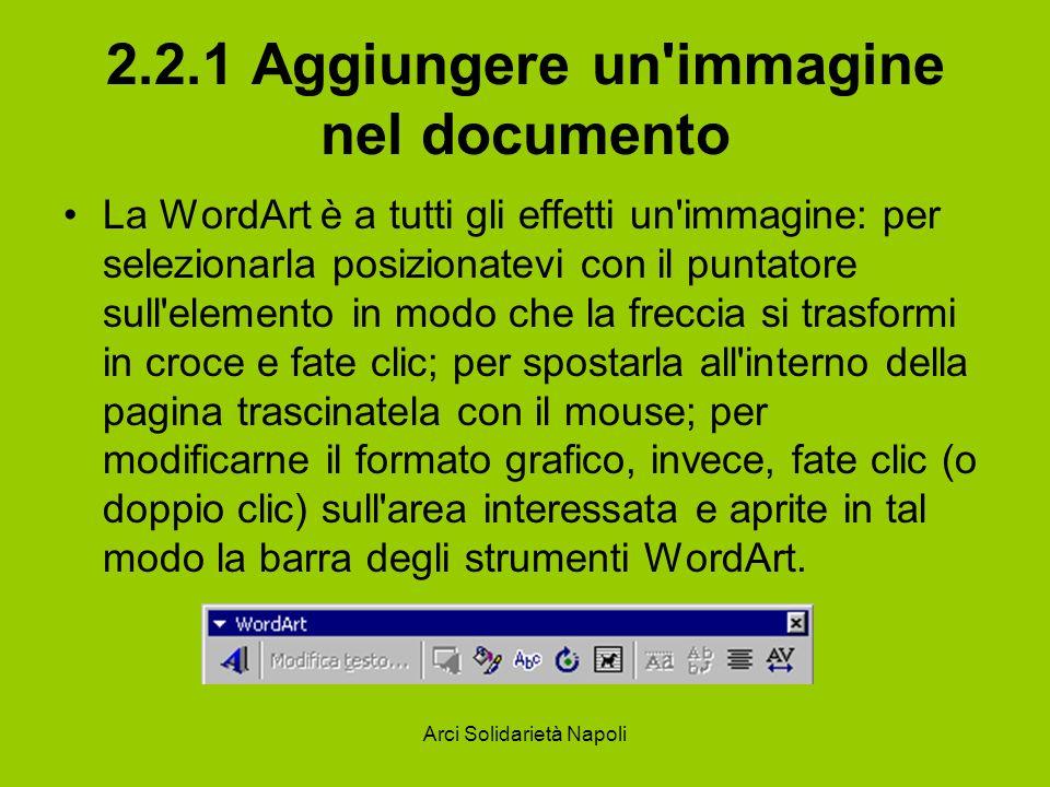 2.2.1 Aggiungere un immagine nel documento