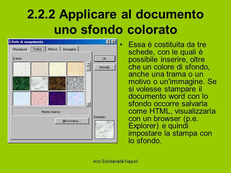 2.2.2 Applicare al documento uno sfondo colorato