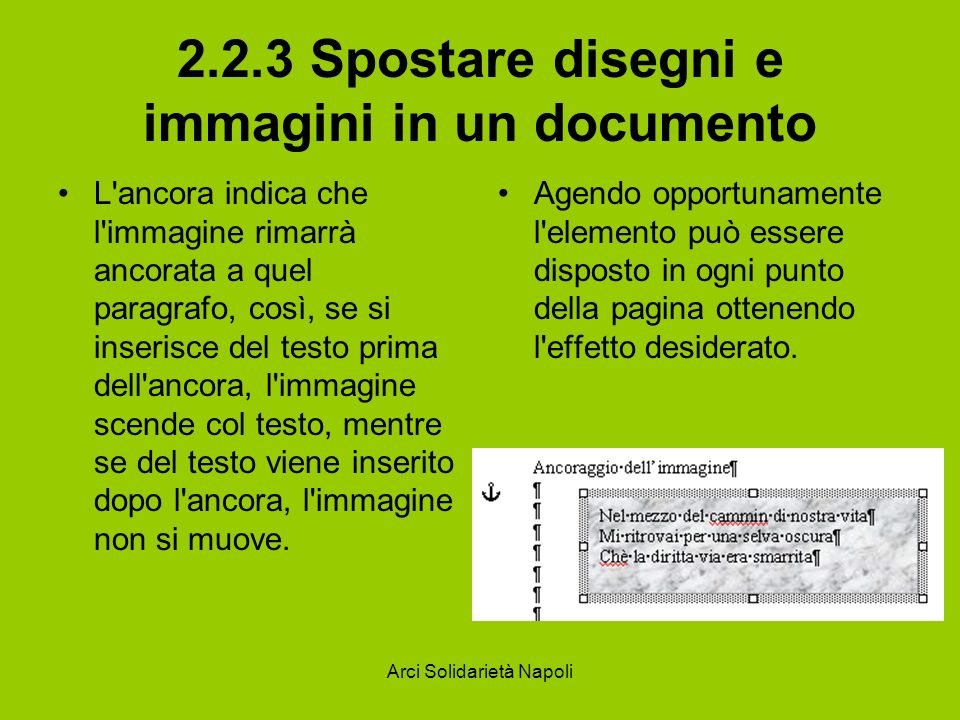2.2.3 Spostare disegni e immagini in un documento
