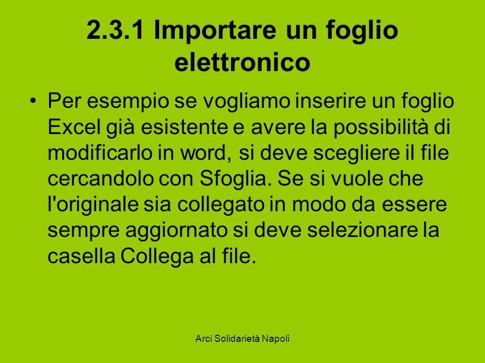 2.3.1 Importare un foglio elettronico