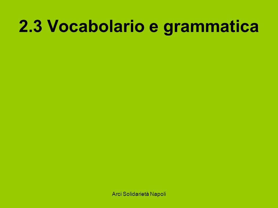 2.3 Vocabolario e grammatica