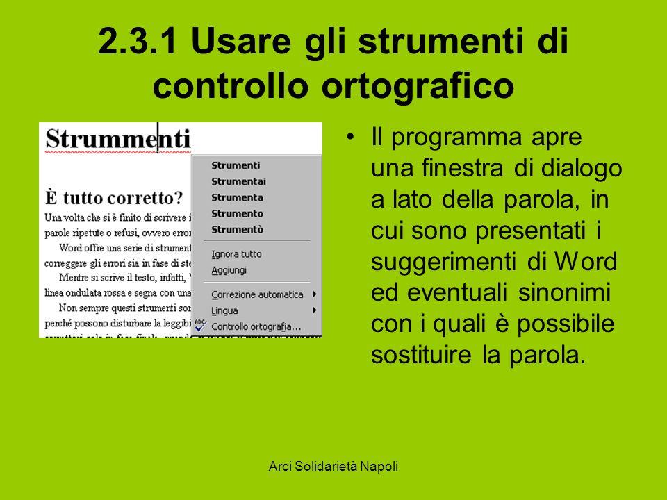2.3.1 Usare gli strumenti di controllo ortografico