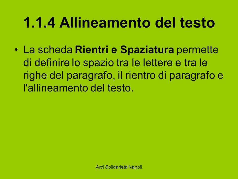 1.1.4 Allineamento del testo
