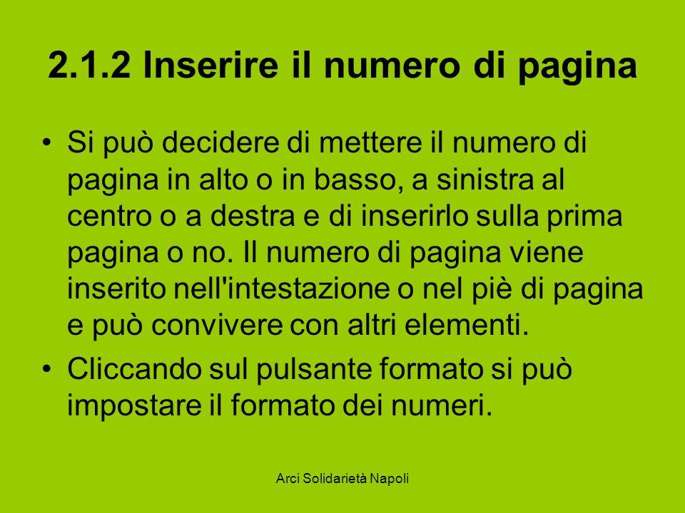 2.1.2 Inserire il numero di pagina