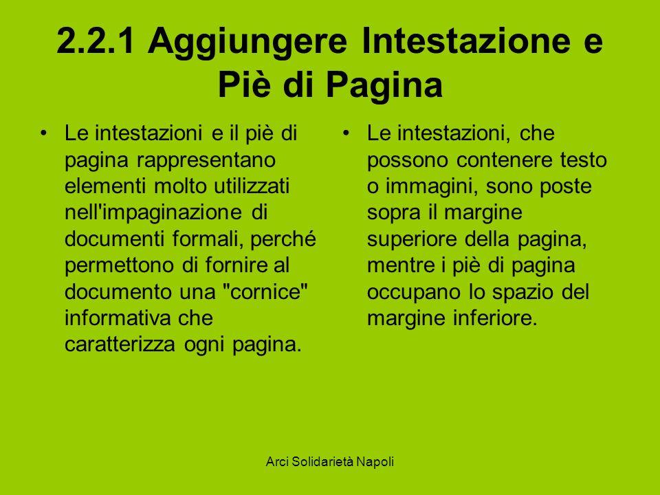 2.2.1 Aggiungere Intestazione e Piè di Pagina