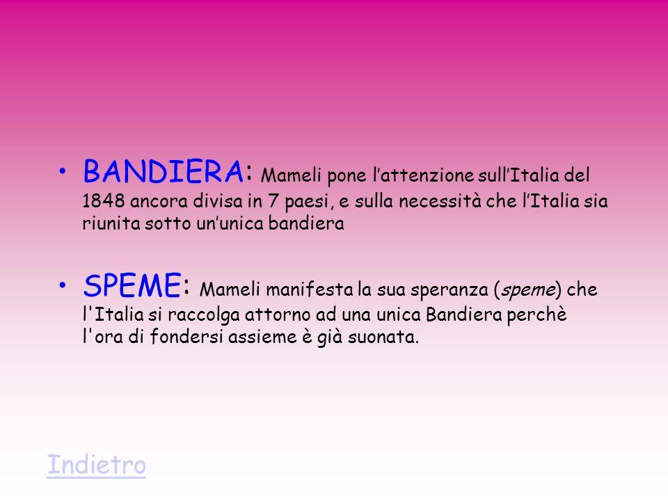 BANDIERA: Mameli pone l'attenzione sull'Italia del 1848 ancora divisa in 7 paesi, e sulla necessità che l'Italia sia riunita sotto un'unica bandiera