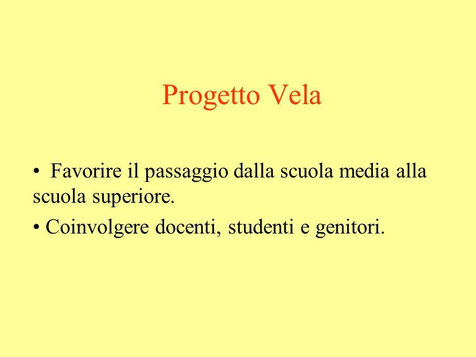 Progetto Vela Favorire il passaggio dalla scuola media alla scuola superiore.